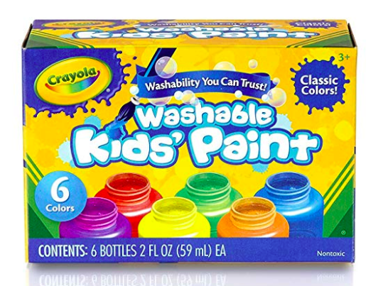 The Crayola washable paints are the best and really do not stain clothes!