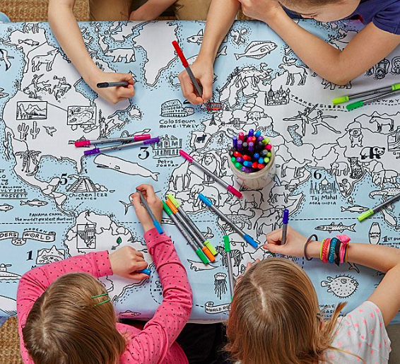 A World Map Coloring Tablecloth makes a great unique gift for kids