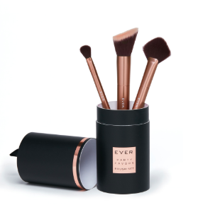 The Ever Skin Brush Set in rose gold includes an eyeshadow brush and two cheek brushes.