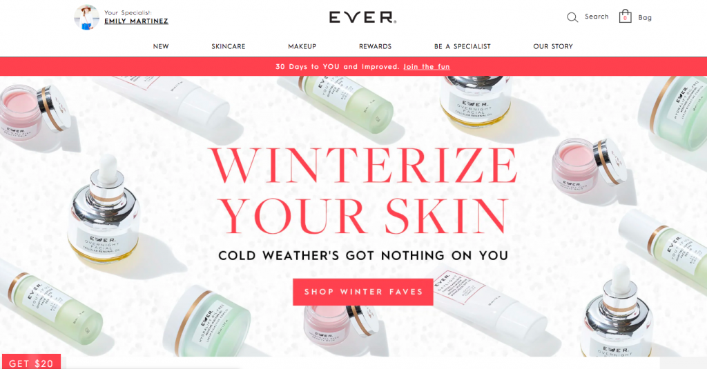 Emily from Emmy Lou Styles shares $20 off your first purchase with EVER Skin.