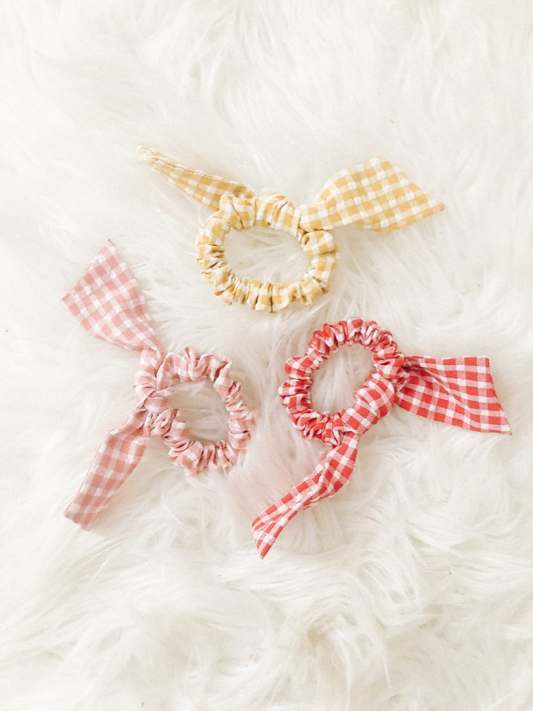 Top 9 Current Amazon Favorites by top US fashion blogger, Emmy Lou Styles: image of a set of 3 Gingham print bunny ear hair scrunchies from Amazon
