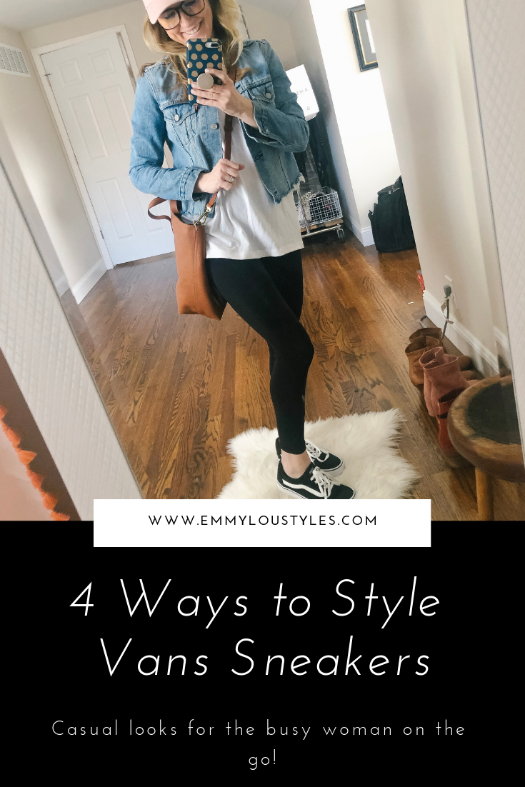 4 casual ways to style black Vans low top sneakers. Image of woman wearing leggings and black Vans low top sneakers.