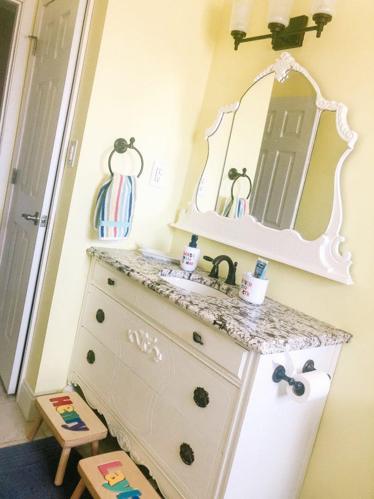 DIY Bathroom Vanity out of a vintage dresser