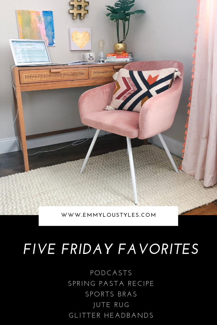 Emmy Lou Styles Five Friday Favorites. image of opalhouse desk with jute rug and pink chair