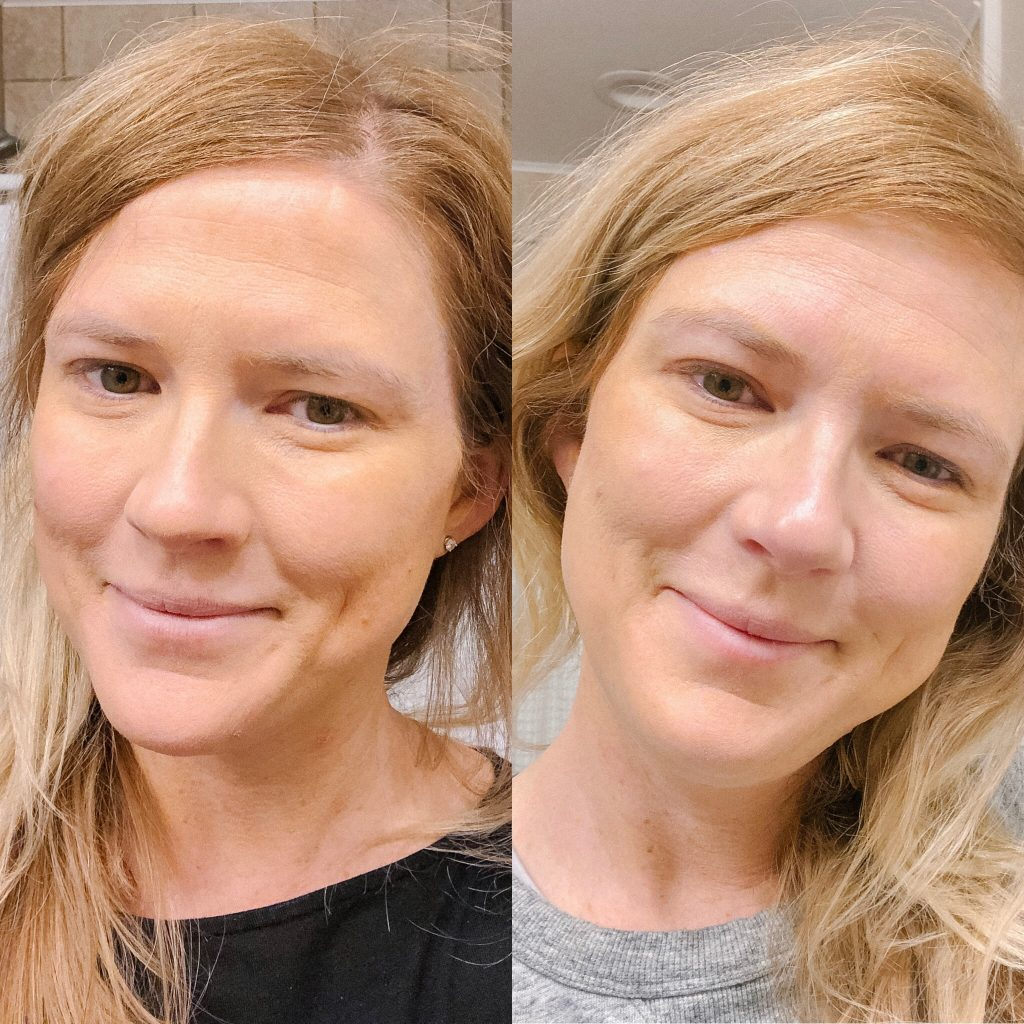 Ever Daily Facial Foundation and Tinted Moisturizer comparison. image of woman comparing ever skin foundation and tinted moisturizer