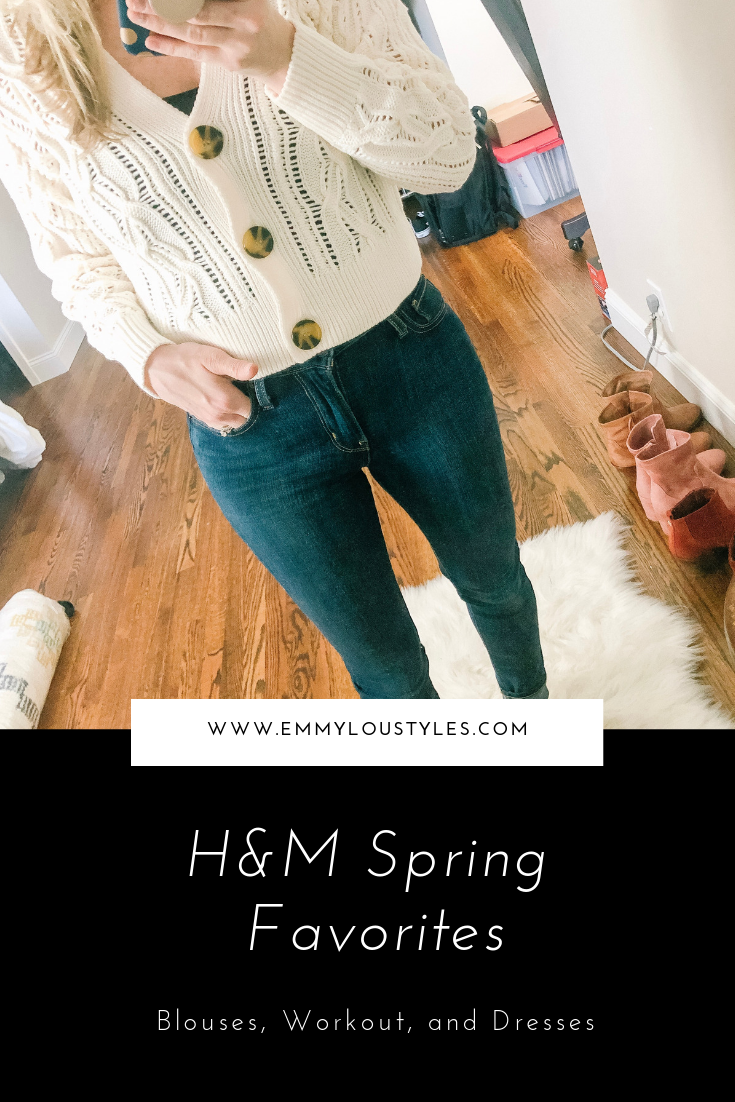 H&M Spring 2019 Favorites. Image of woman wearing a cropped sweater from H&M in front of a mirror.