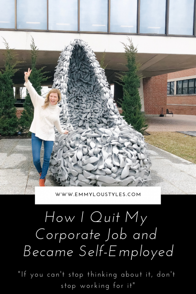 How I quit my corporate job and became self employed. Image of woman standing in front of large shoe holding up a peace sign.