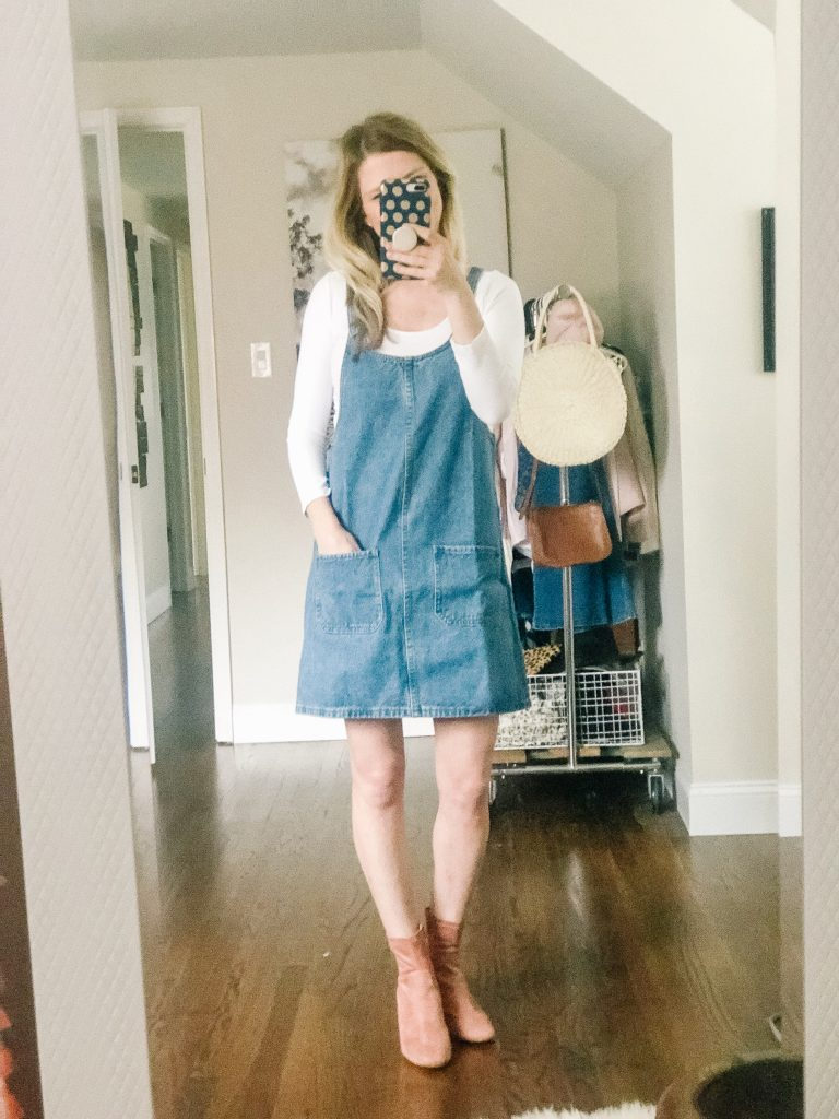 Denim Jumper Dress from Amazon. Woman wearing a denim jumper dress.