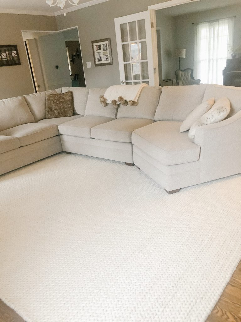 Textured Cable Knit off white area rug