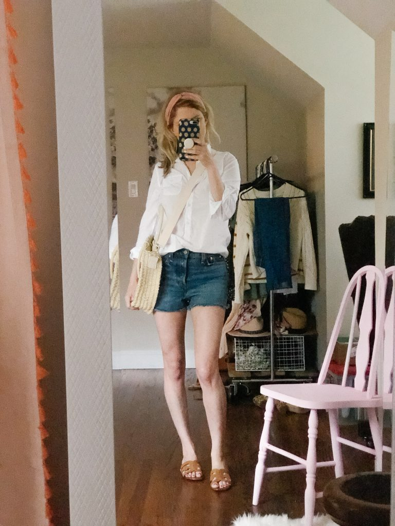 how to style denim shorts with white button down