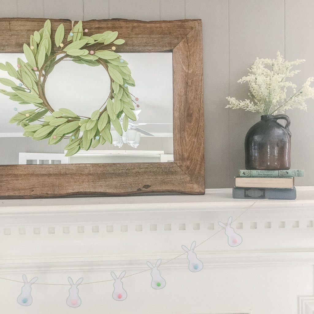 picture of a mantle with simple easter decor