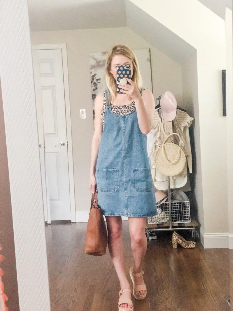 Amazon Denim Jumper Dress with leopard print tank top
