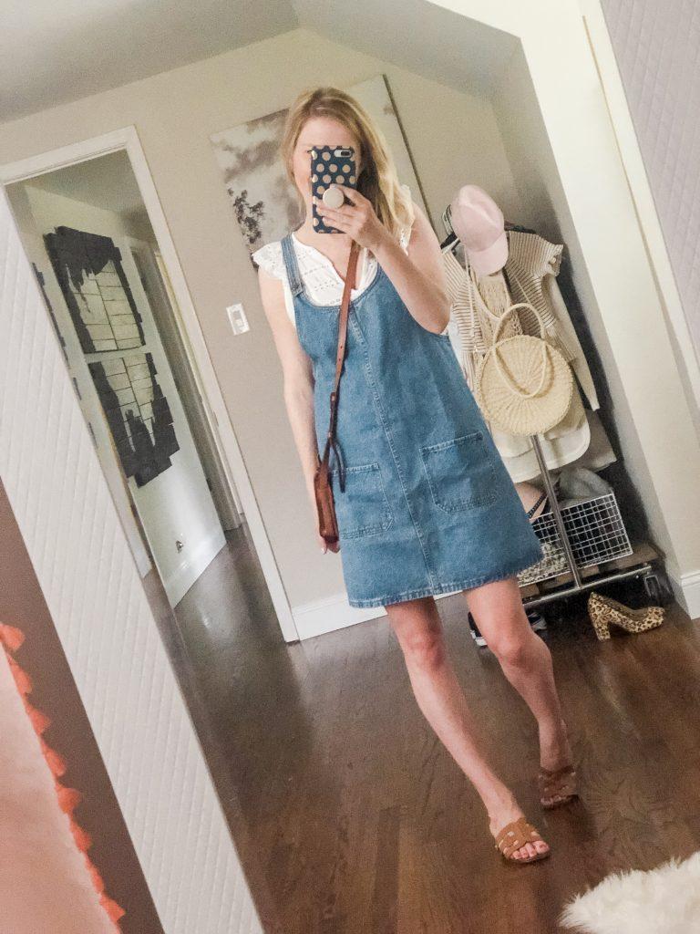 Amazon Denim Jumper dress with white eyelet shirt