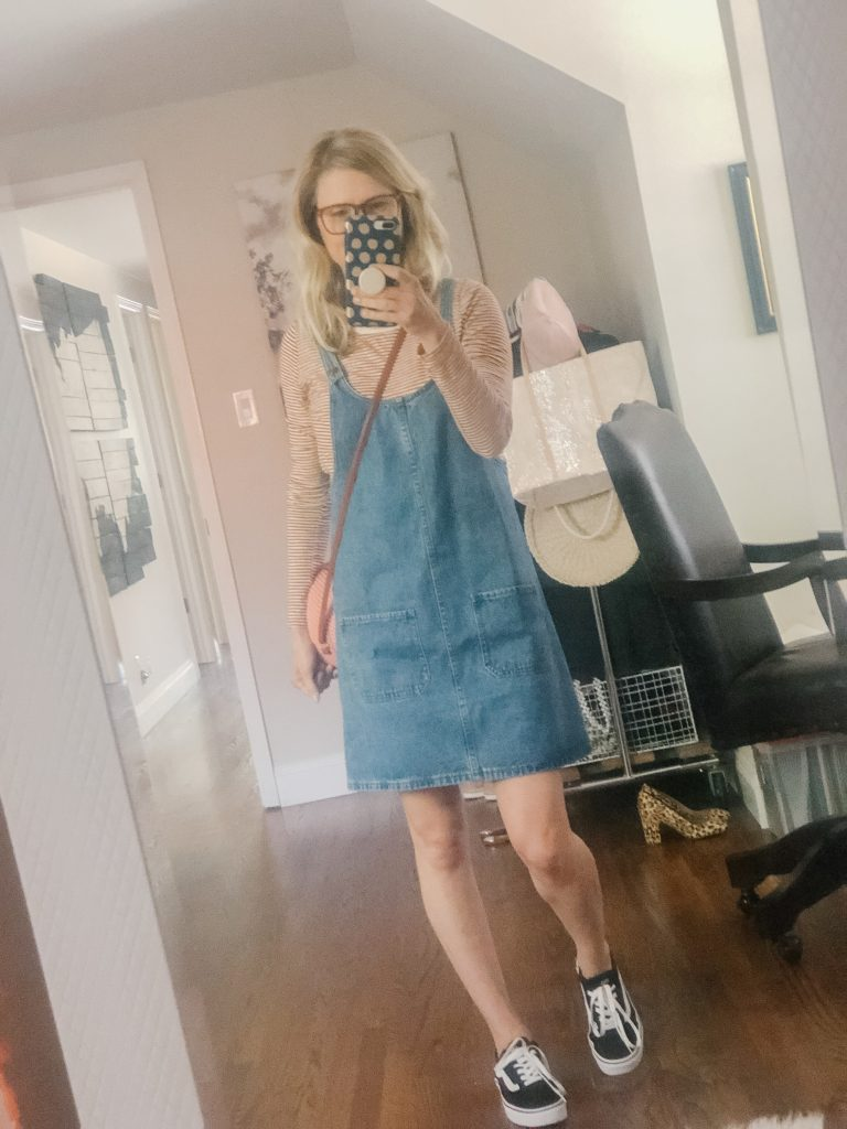 Amazon denim jumper dress with Vans