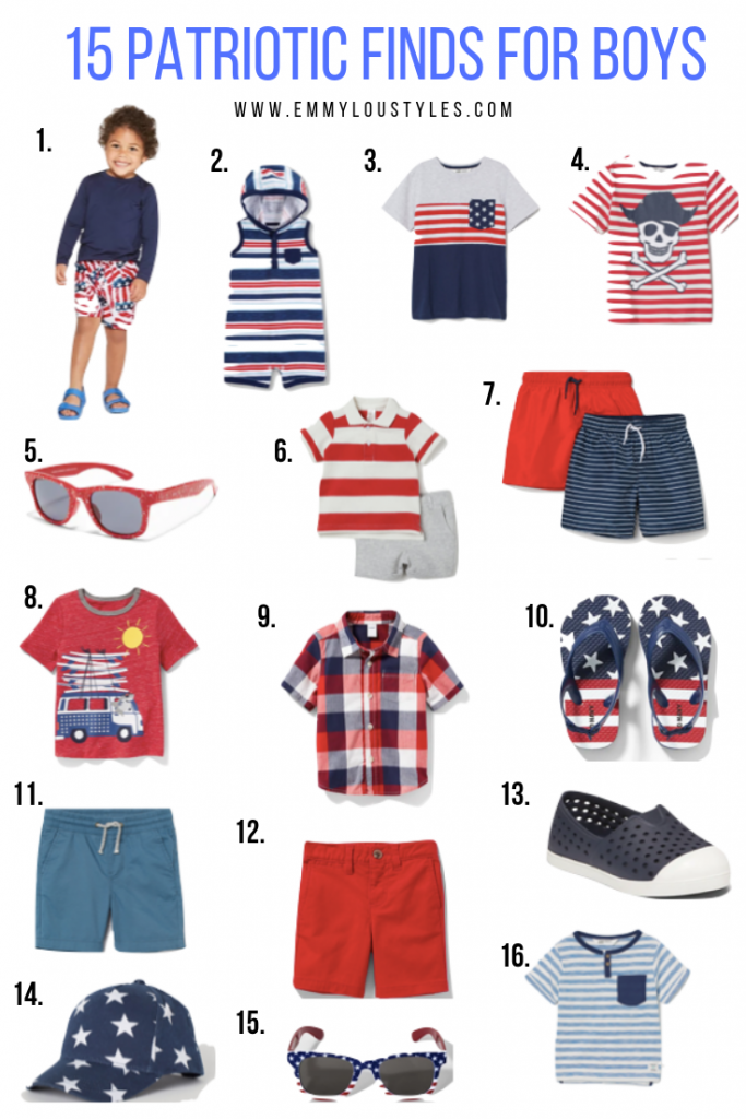 Patriotic boy outfits; collage image of little boy red white and blue clothing and accessories