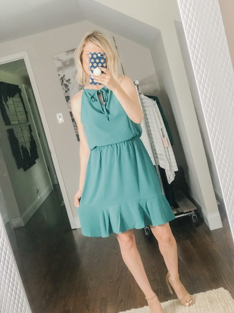 Emerald green sleeveless ruffle dress from Gibson Look collection available at Nordstrom