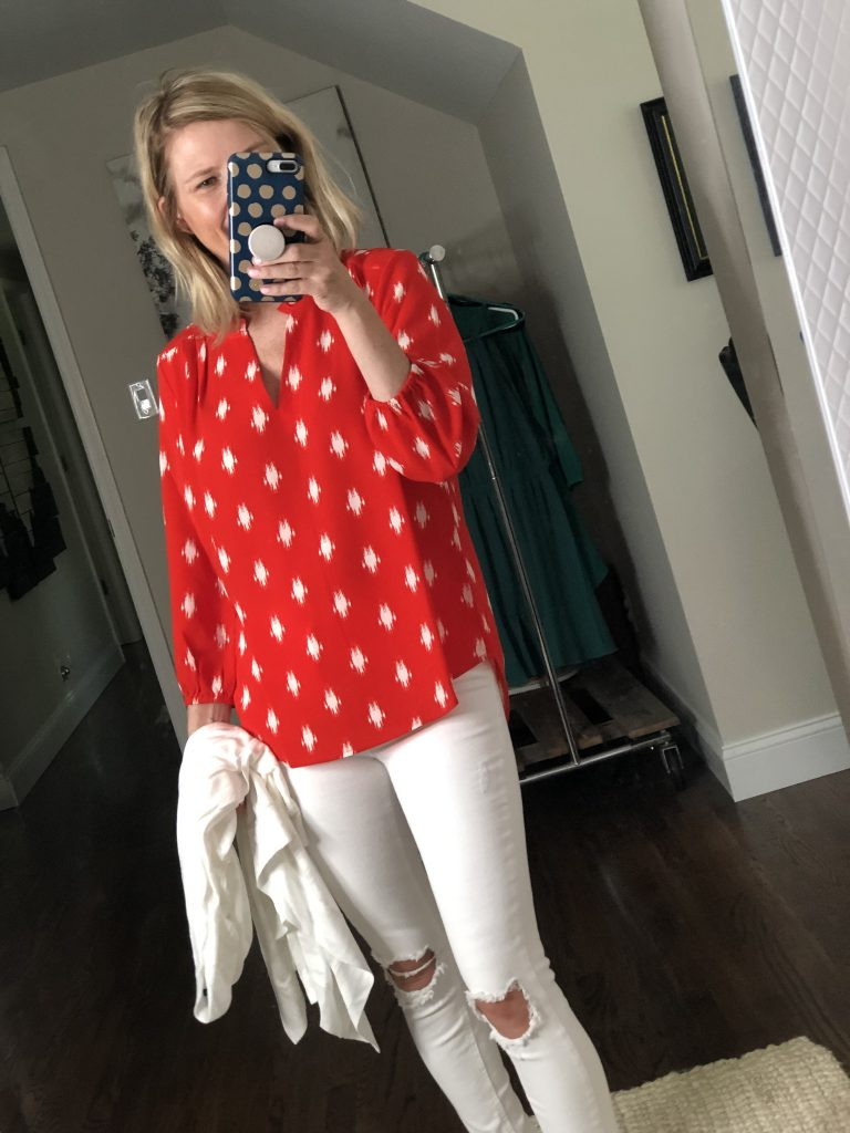 Red long sleeve blouse with white design from Gibson Look collection at Nordstrom