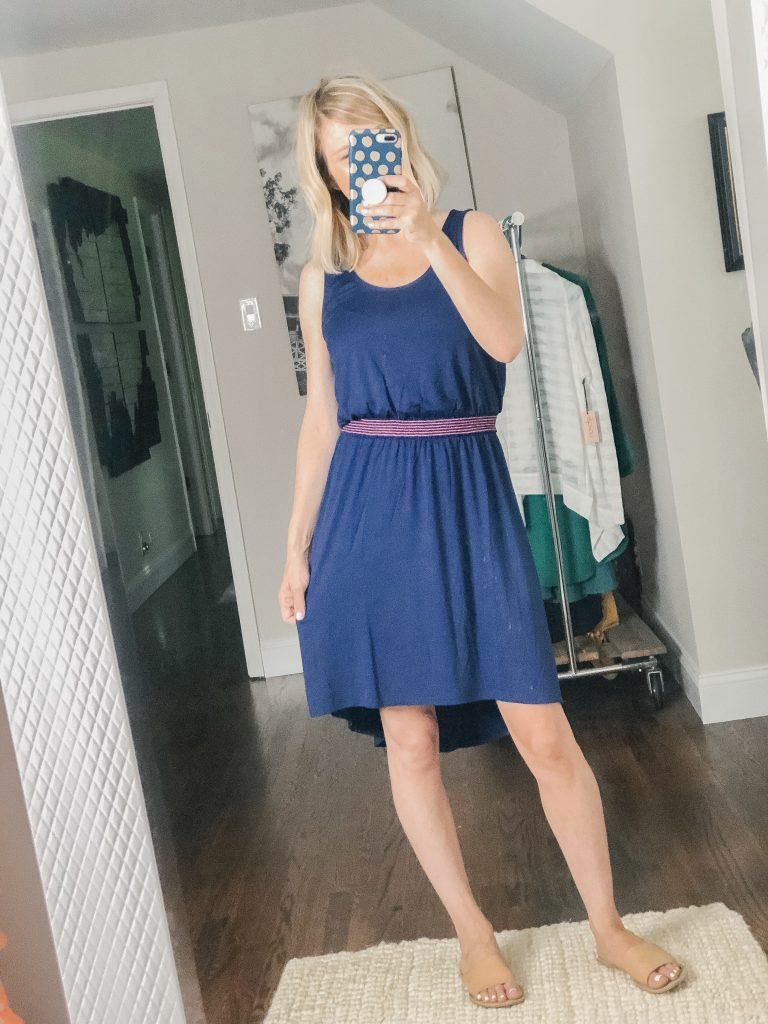 Navy cotton dress with pink elastic waistband from Gibson Look available at Nordstrom