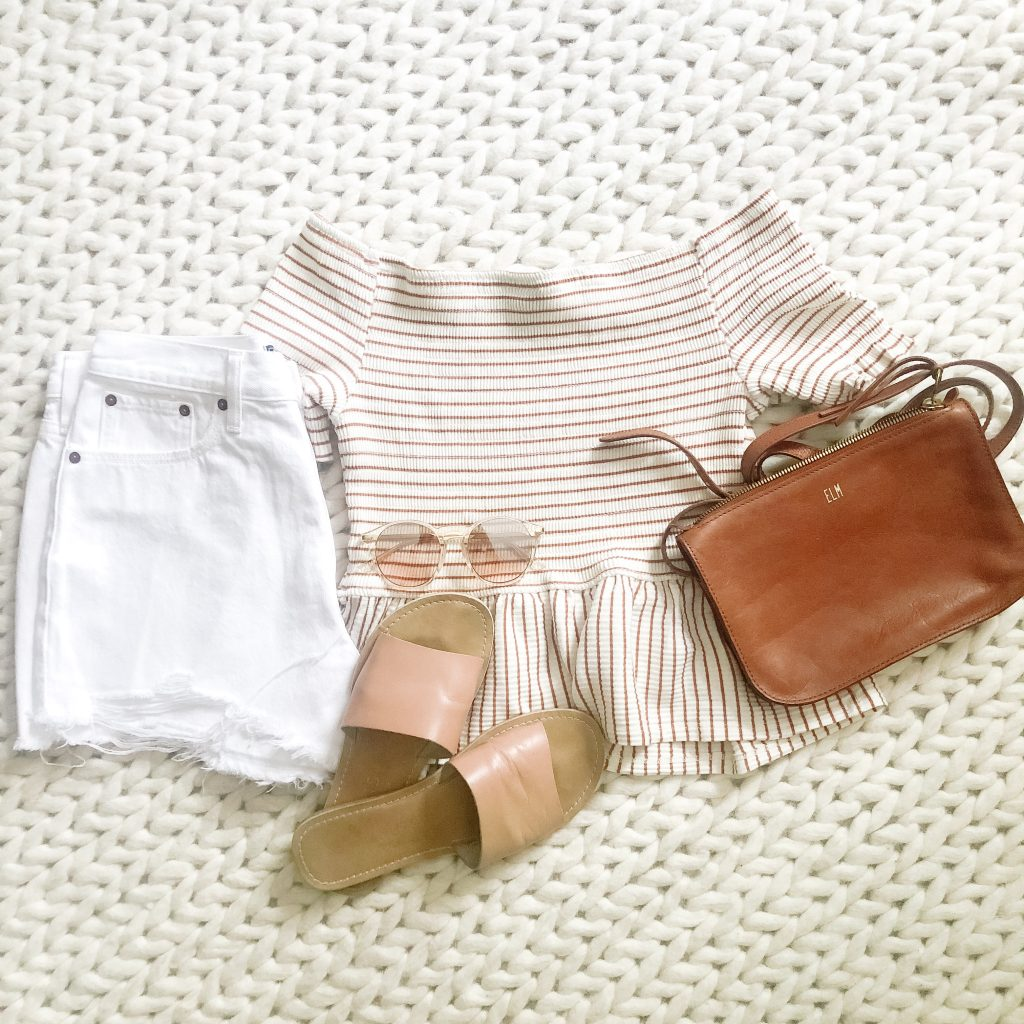 White denim shorts and sandals_outfit flatlay