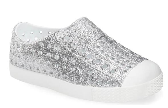 Glitter slip on shoes for girls