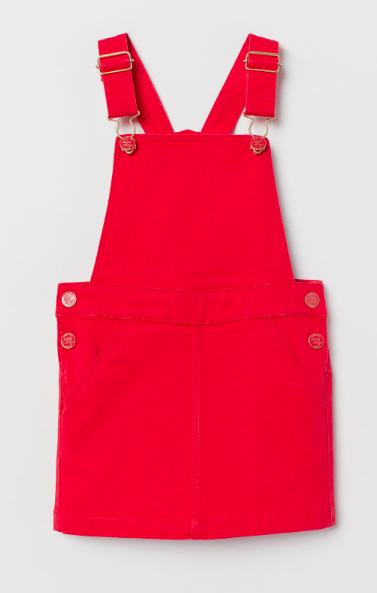 Red denim jumper dress for girls