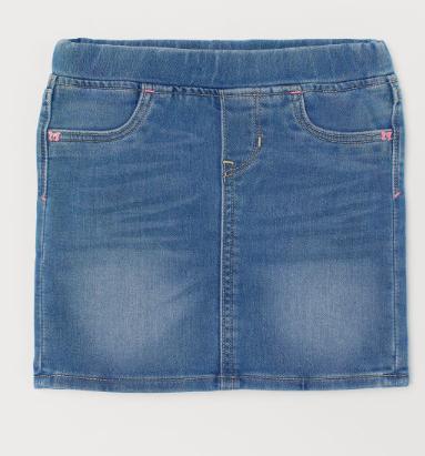 elastic waist denim skirt for girls