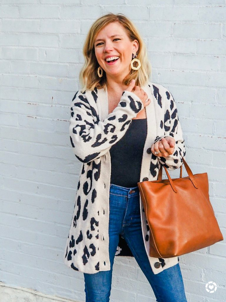 Friday Favorites: Woman wearing a long leopard cardigan