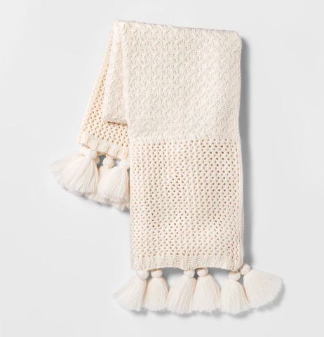 off white throw blanket with tassels under $50