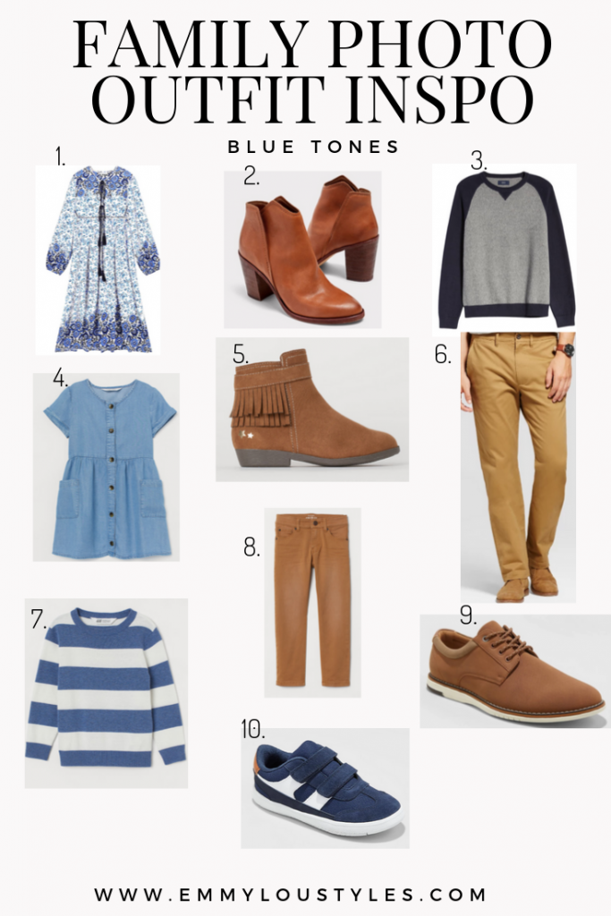 Fall Family Photo Outfit ideas for fall using blue tones