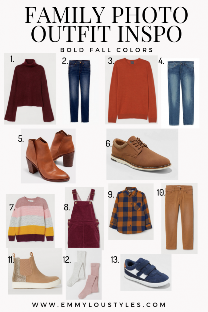 Family Photo Outfit Ideas using bold fall colors