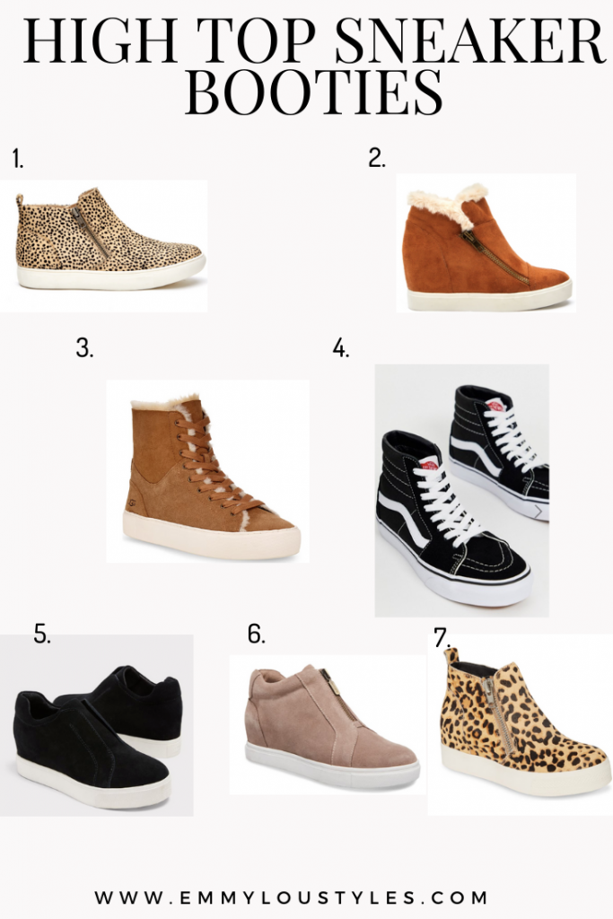 High top sneaker booties for women