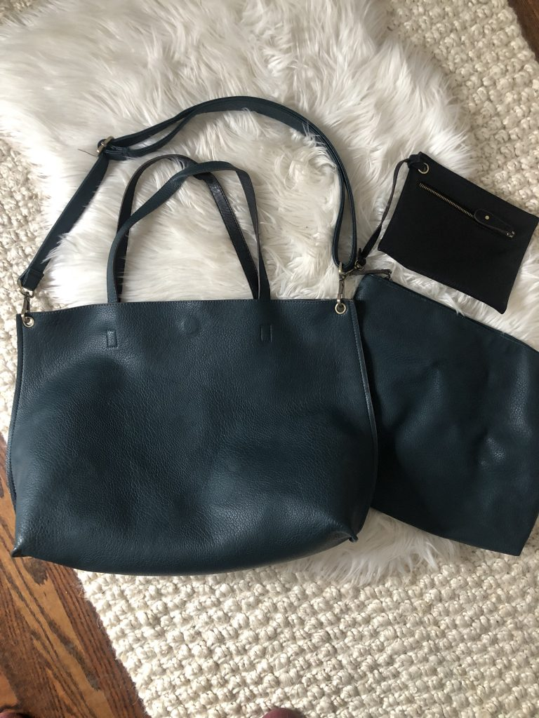 Dark Green Free People Crossbody Tote Bag