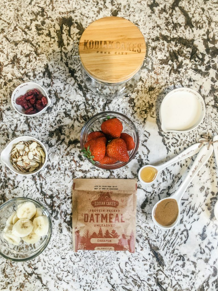 Simple overnight oats with nine ingredients using Kodiak Cakes oatmeal