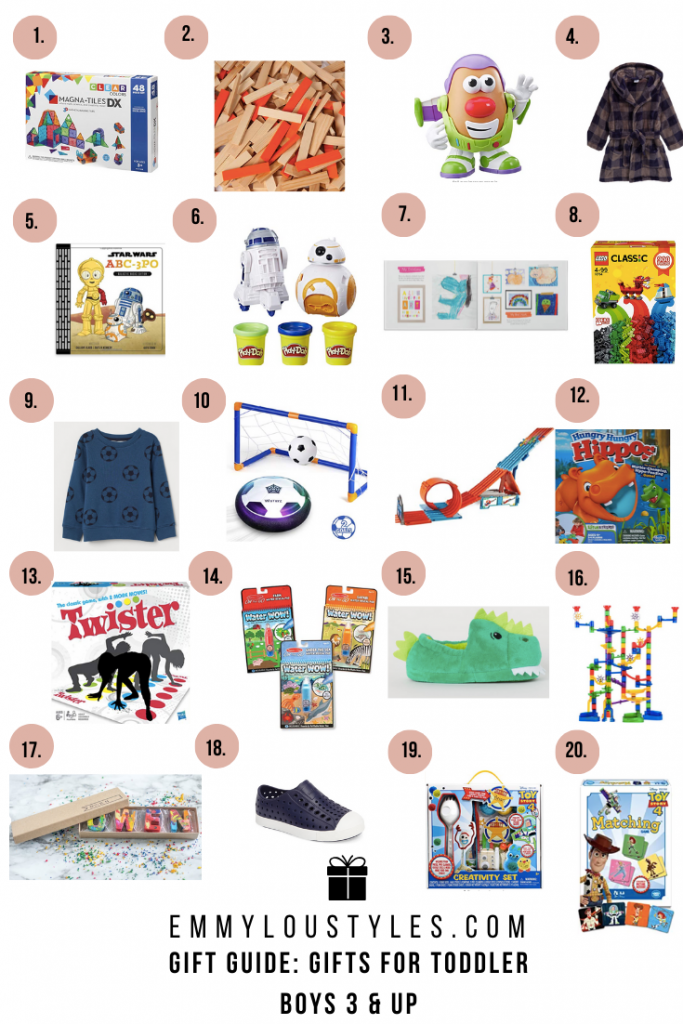 A gift guide featuring holiday gifts for toddler boys ages 3 and up