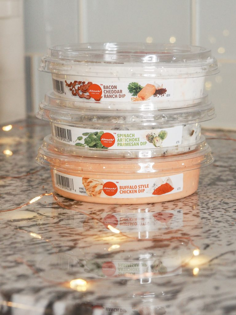 Schnucks ready to serve dips sitting on a counter