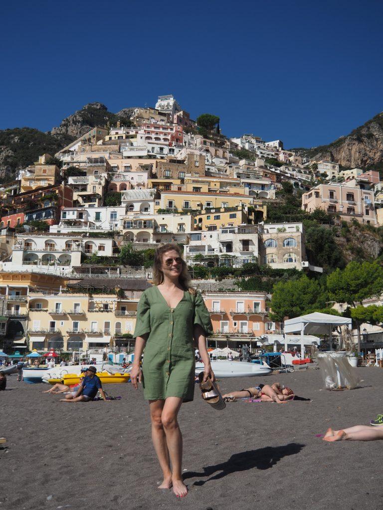 woman standing on beach in Amalfi