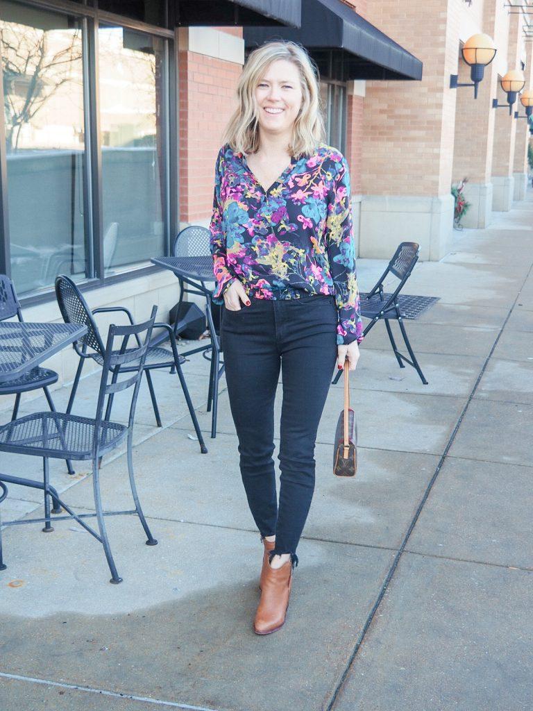 Black Good American Jeans and Allison Joy floral print blouse