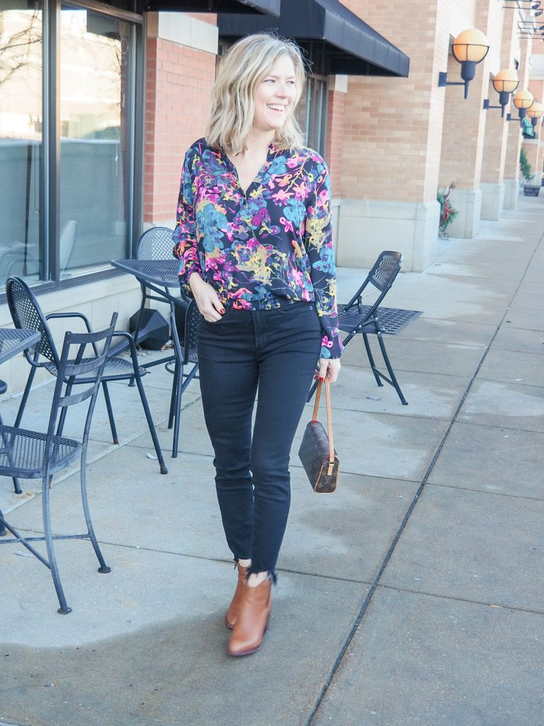 Good American black high rise jeans with Allison Joy top from Evereve