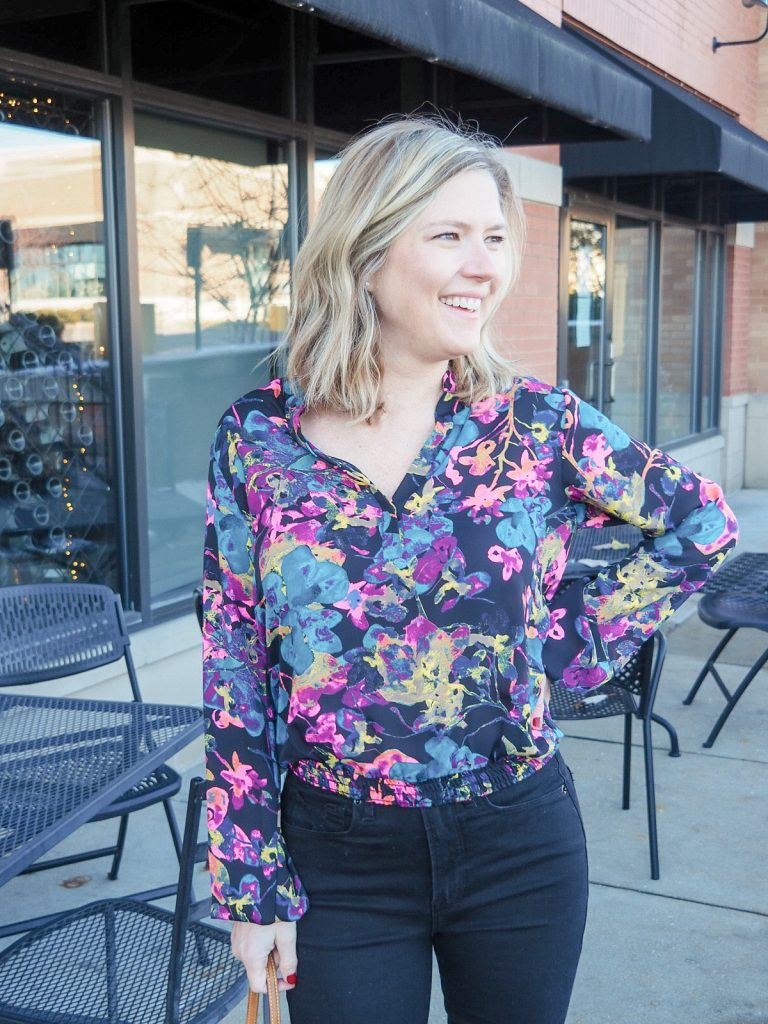 Allison Joy floral print top from Evereve with Good American high rise black jeans