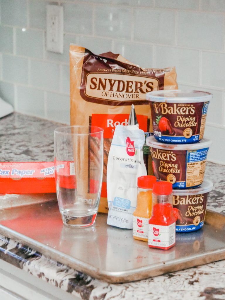 ingredients for chocolate covered pretzel rods