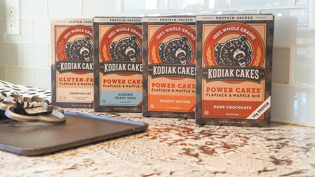 Kodiak Cakes pancakes: gluten free, almond poppyseed, peanut butter and dark chocolate