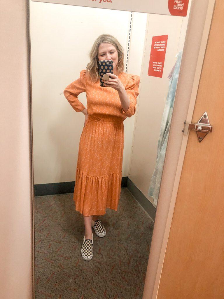 Orange midi length dress from Target