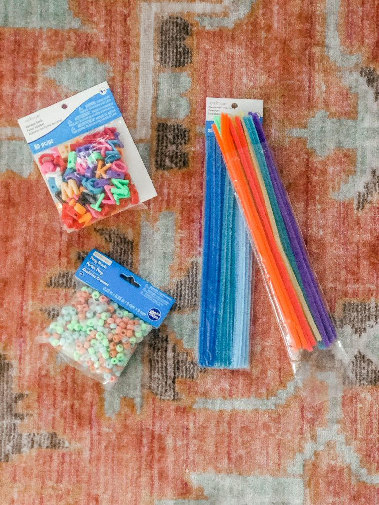 Supplies needed to make pipecleaner pony bead bracelets