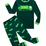 Boys pajama set with trash truck print from Amazon