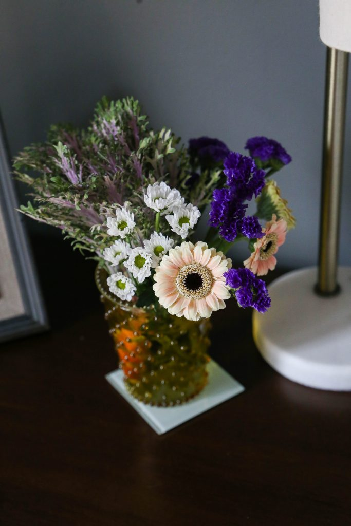 Fresh flowers in a vase for spring home decor