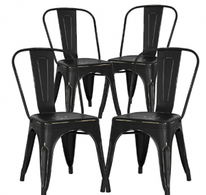 black metal chairs set of 4 from Amazon