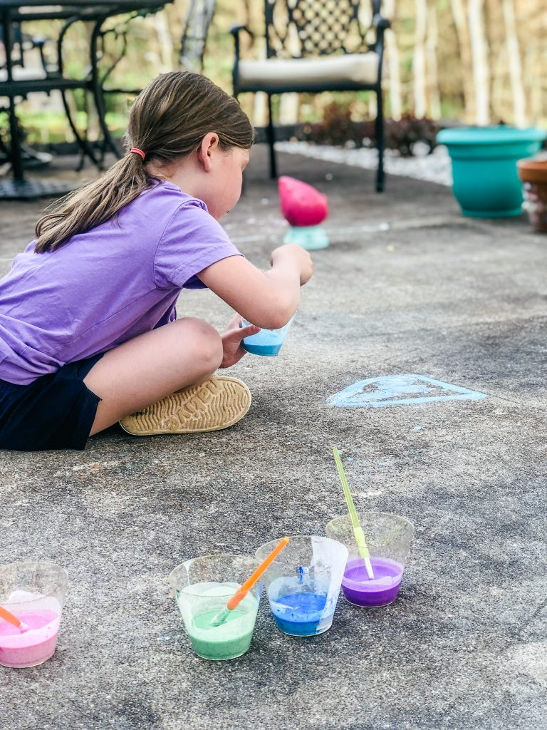 Directions for making homemade chalk paint to use on sidewalks for art