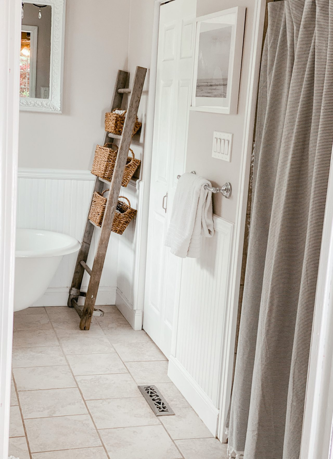 Hearth and Hand striped shower curtain for simple bathroom update