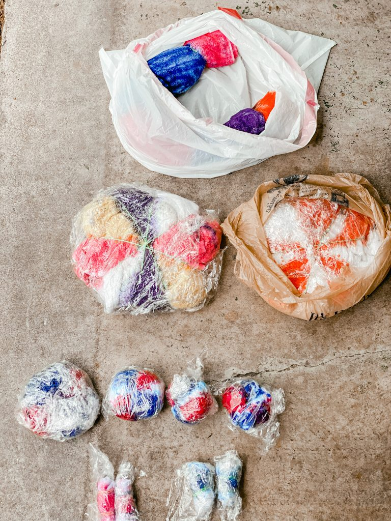 How to tie dye at home_wrap items in plastic and sit overnight