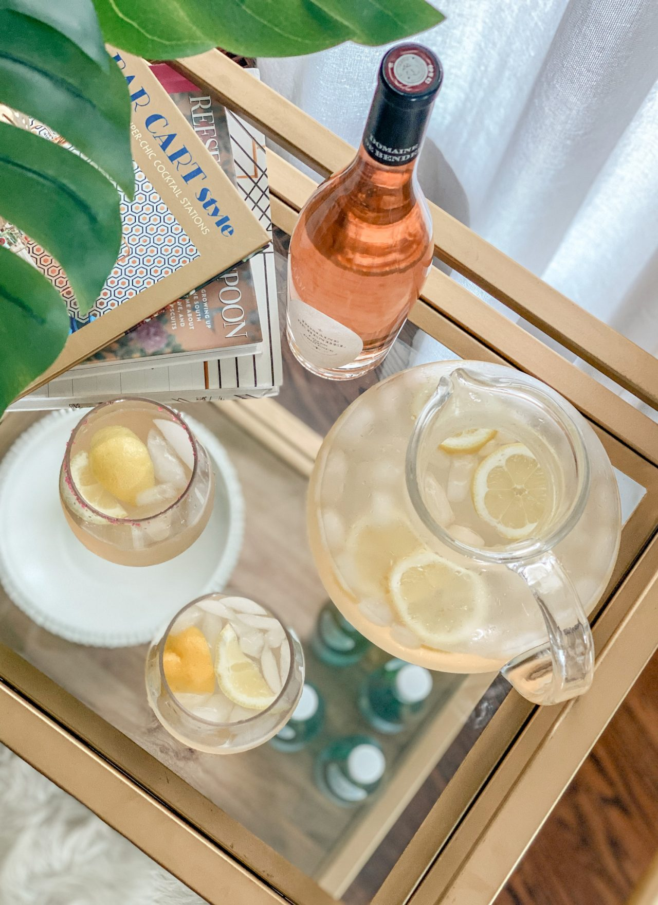 gold barcart featuring rose lemonade